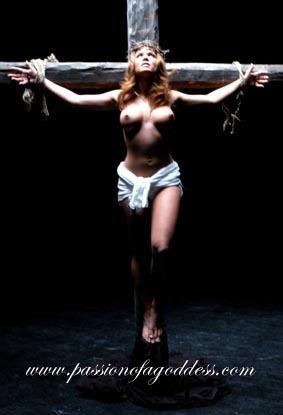 Nude female crucifixion art are mistaken